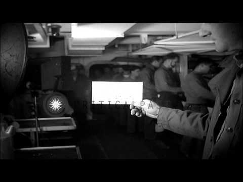 Marine pilots having food in ship galley of USS Sicily (CVE-118) HD Stock Footage
