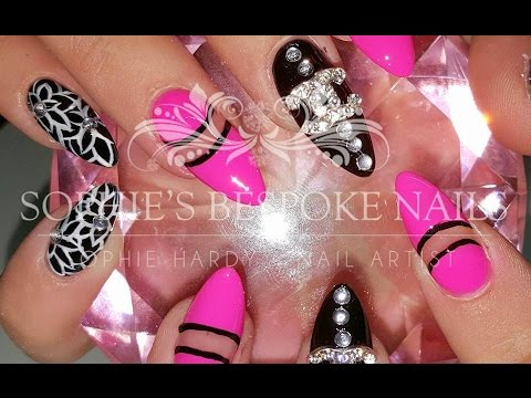 acrylic nails chanel inspired pink