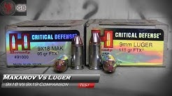 Makarov 9x18mm Vs Luger 9x19mm Hornady Critical Defense Gel Test