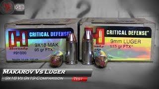 Makarov 9x18mm Vs Luger 9x19mm Hornady Critical Defense Gel Test