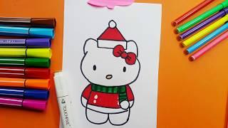 Santa Claus Hello Kitty Drawing And Coloring