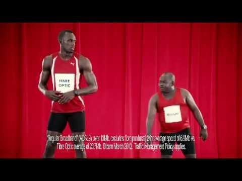 Usain Bolt and Richard Branson in Virgin Media: Performance TV advert (UK)