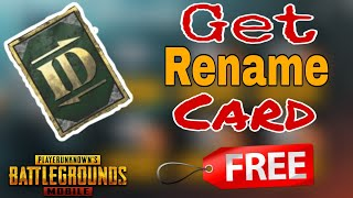 How to Get Free Rename Card | Pubg Mobile | Gamer Nilu