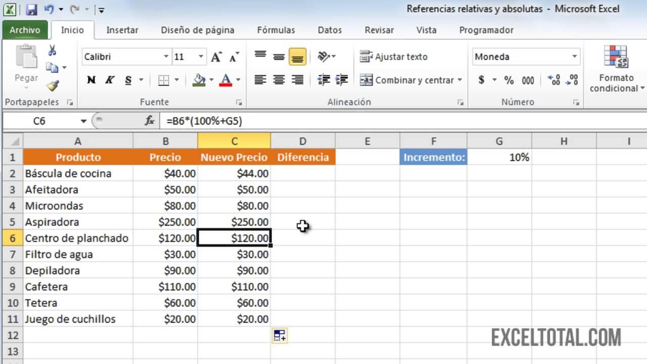 Referencias relativas y absolutas en Excel 2010 - YouTube