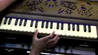 How to play - Chhoti Chhoti Gaiya (Krishna Bhajan) on Harmonium (with notes)