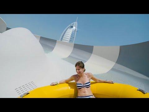 Burj Surj Water Slide at Wild Wadi Waterpark Dubai.