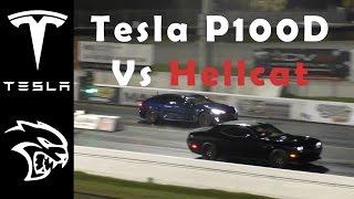 تشالنجر هيلكات تتحدى تيسلا موديل S P100D في سباق الربع ميل