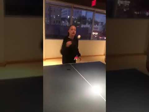 Danielle Bregoli playing ping-pong in LA