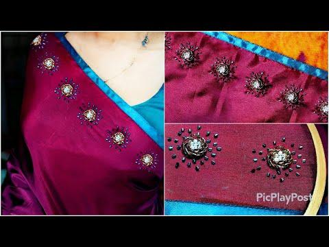 Plain Material മുറിച്ച് വാങ്ങി Designer saree ആക്കാം bead embroidery passion in fashion