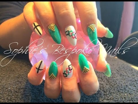 Acrylic nails l teal white gold l nail design youtube acrylic nails l teal white gold l nail design prinsesfo Gallery