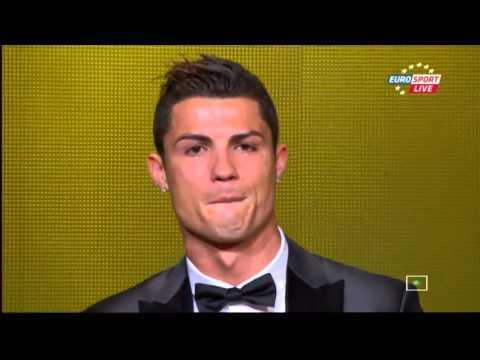 Cristiano Ronaldo crying after WIN  Ballon d'Or 2013 FIFA Player of the Year!