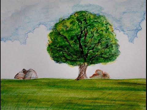 Cara Menggambar Pemandangan Pohon Dan Padang Rumput Youtube