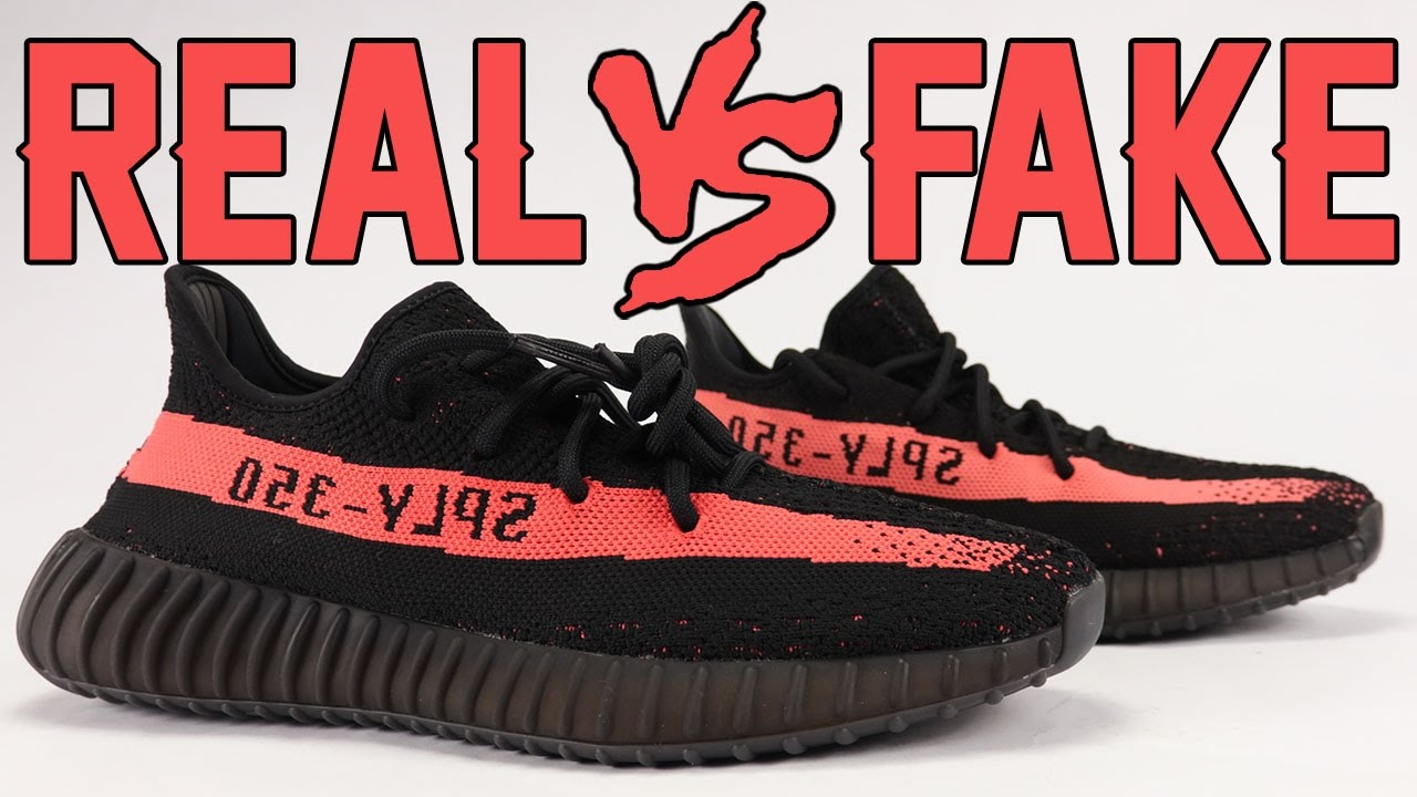 eb4bdb48933 Real vs Fake adidas Yeezy Boost 350 V2 Black Red Legit Check - YouTube