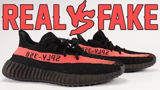 Real vs Fake adidas Yeezy Boost 350 V2 Black Red. Here is how you c...