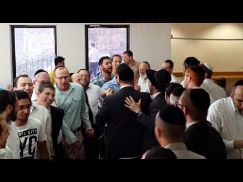 Levi Rosenthal celebrating his own Pidyon HaBen at Aish HaTorah