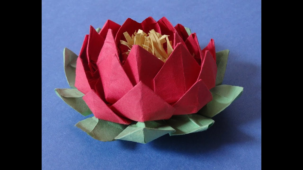How To Make 20 Petal Lotus With Stamen Variation Of Origami Lotus