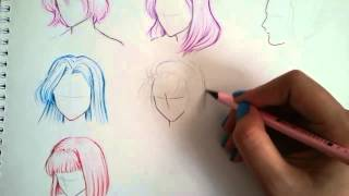 How to draw :  8 different Hairstyles