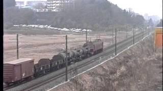 1992年の常磐線の雑種貨物列車です。牛久-荒川沖(当時)。8ミリビデオ...