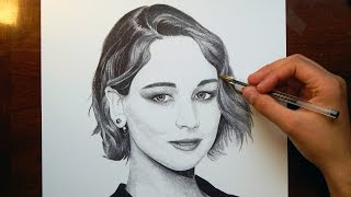 Drawing Jennifer Lawrence with Ballpoint Pen