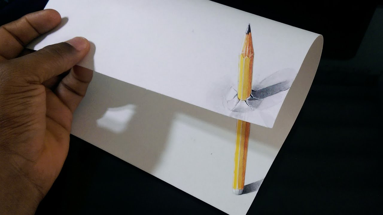 Dibujos En 3d Para Niños Web Del: Drawing A 3D Pencil Through A Sheet