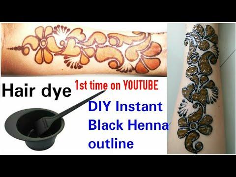 How to make Black border mehendi using Hair dye | DIY black outline henna paste at home