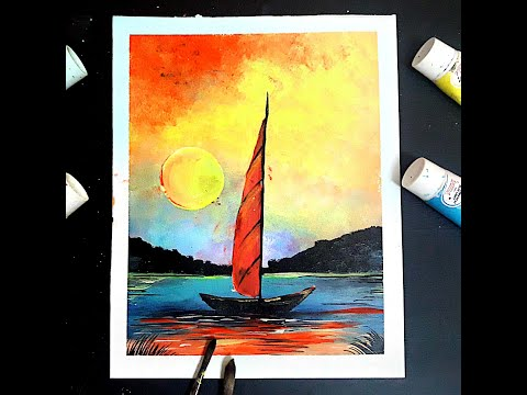 Seashore landscape, colour reflections, boat painting, modern art, river painting, boat scenery.