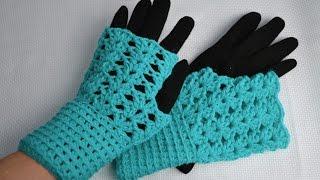 Ажурные митенки крючком • Подробный мастер-класс по вязанию крючком • Crocheted fingerless mittens