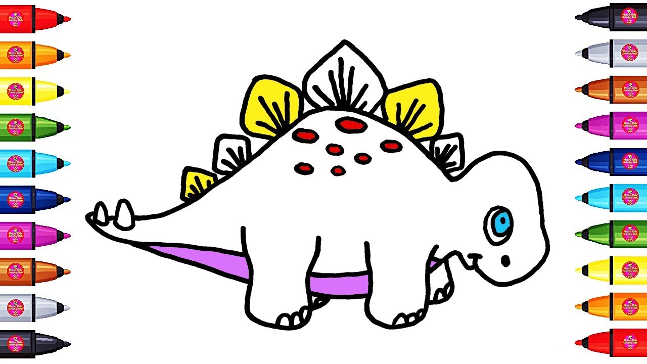 how to draw and coloring stegosaurus dinosaur coloring page book