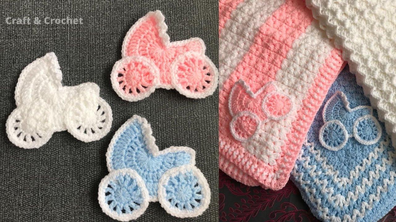 Crochet  pram/crochet stroller / crochet blanket applique