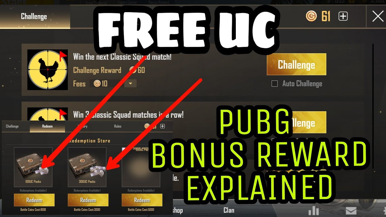 Bonus Reward PUBG MOBILE | All Challenges Explained | Free UC cash in bonus Reward