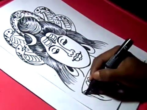 How To Draw Lord Eswara Shiva Drawing Step By Step Youtube