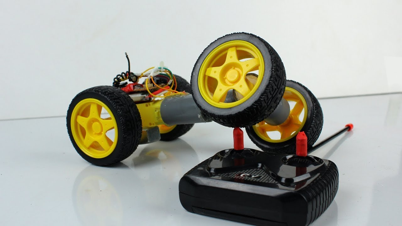 how to make crazy rc car diy remote control stunt car toy at home youtube. Black Bedroom Furniture Sets. Home Design Ideas