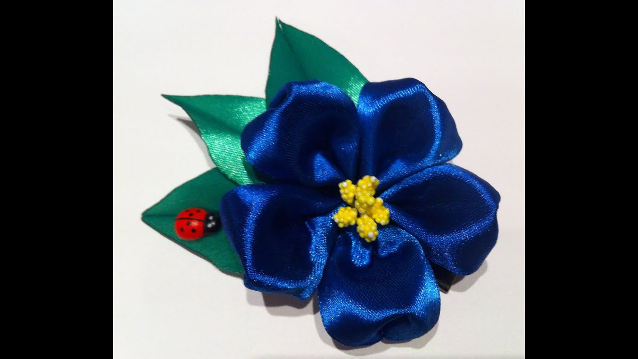 Фото цветка канзаши синего 57