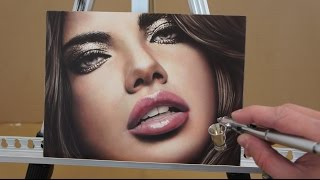 Airbrush courses - how to airbrush photorealistic portrait www.WET-PAINT.eu