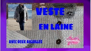 DIY. Veste En Laine Avec Deux AiguillesWoolen Jacket With Two Needles.