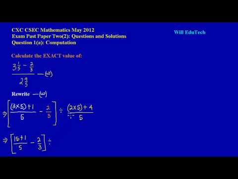 CSEC CXC Maths Past Paper 2 Question 1a May 2012 Exam Solutions
