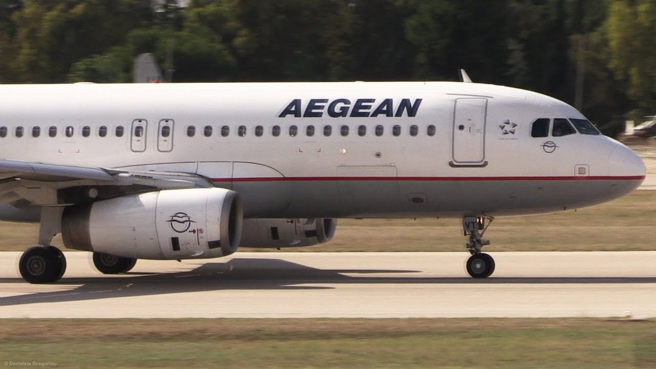 Airbus A320 Shortfield Takeoff at Airshow - Full TOGA Power - AEGEAN @  Athens Flying Week Airshow