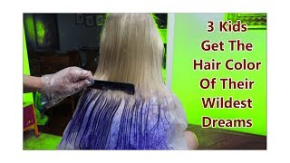 3 Kids Get The Hair Color Of Their Wildest Dreams! How To Peek A Boo Hair With Da Vinci!