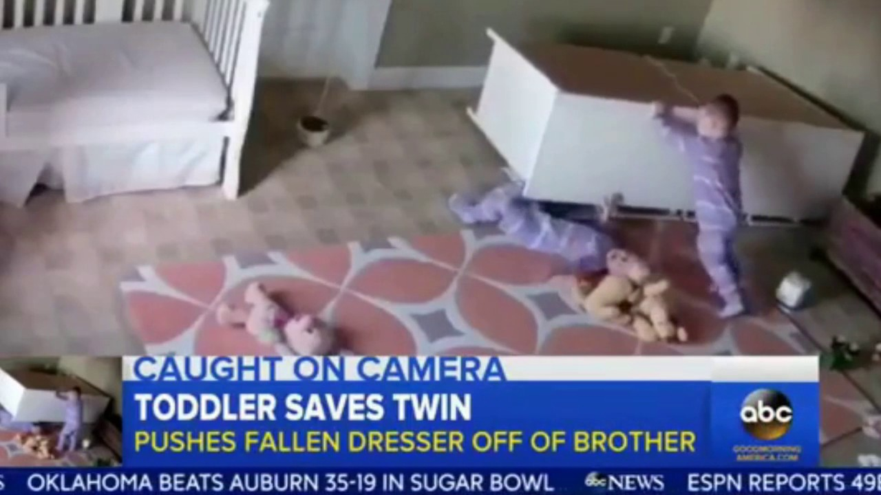 SUPER TWIN 2 Year Old Saves Twin Brother From Fallen Dresser VIDEO