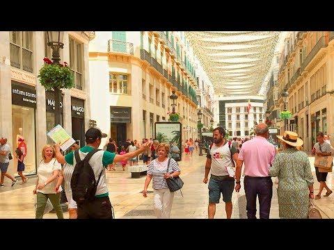 MÁLAGA WALK Along City Centre Main Shopping Streets | Spain