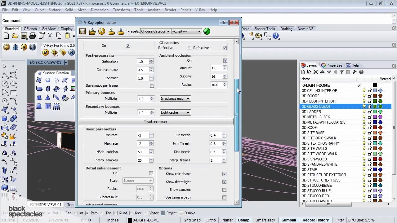Indirect Illumination (GI) & Irradiance Map Options in Rhino