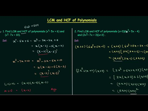 LCM And HCF Of Polynomials