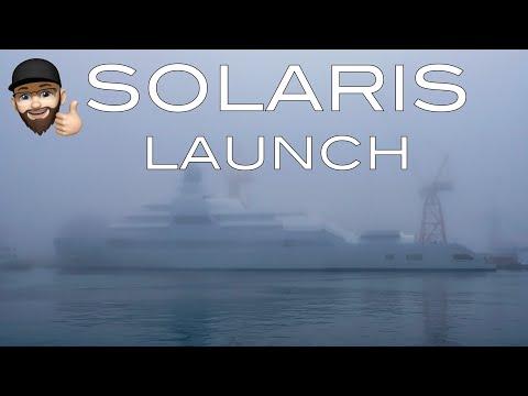 4K | Foggy Launch of Megayacht SOLARIS - Lloyd shipyard