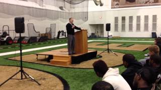 Bob Griese talks to the Purdue football team
