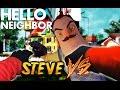 Minecraft vs Real Life - Minecraft STEVE vs Hello Neighbor FIGHT!!
