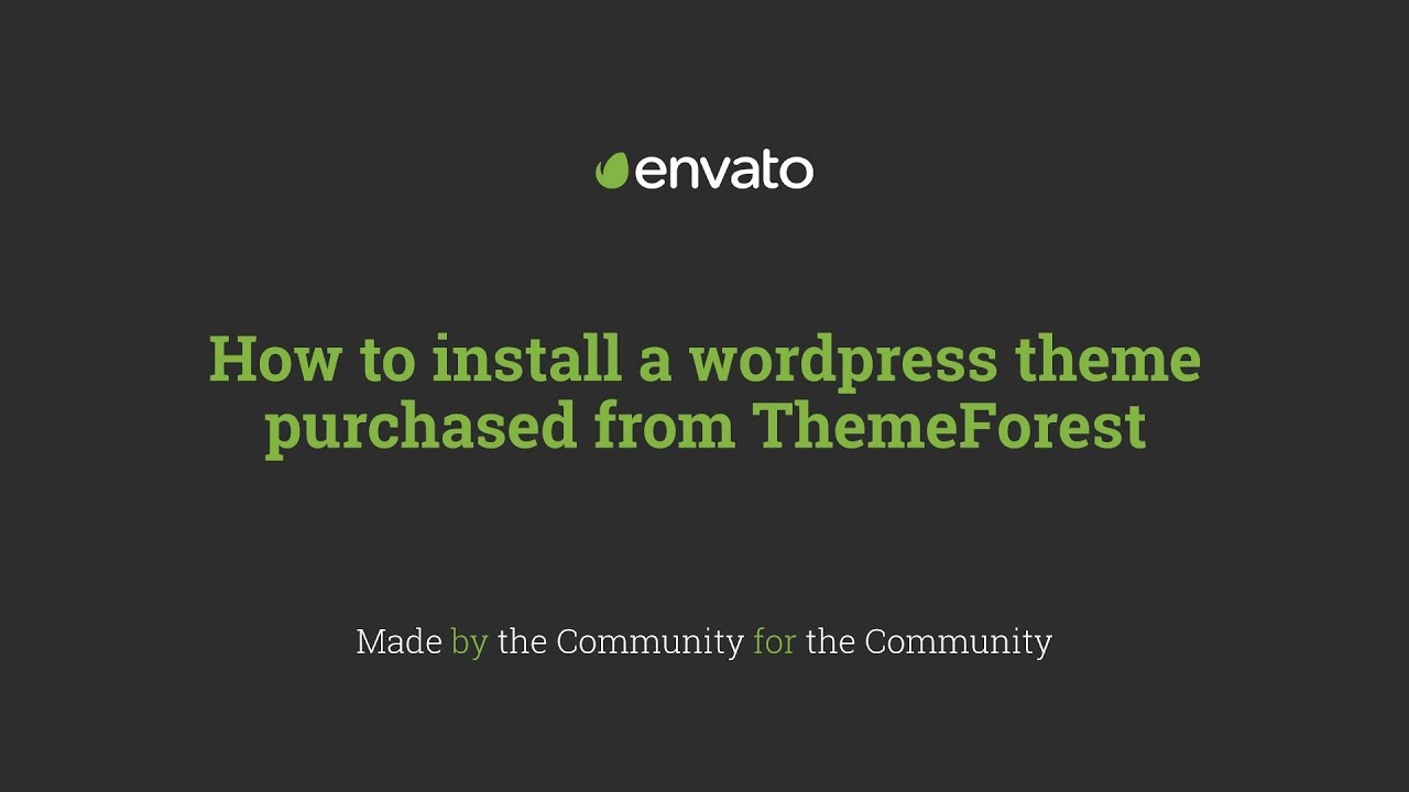 How to install a wordpress theme purchased from ThemeForest - YouTube