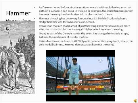 Application Of Physics: Hammer Throwing from YouTube · Duration:  6 minutes 29 seconds
