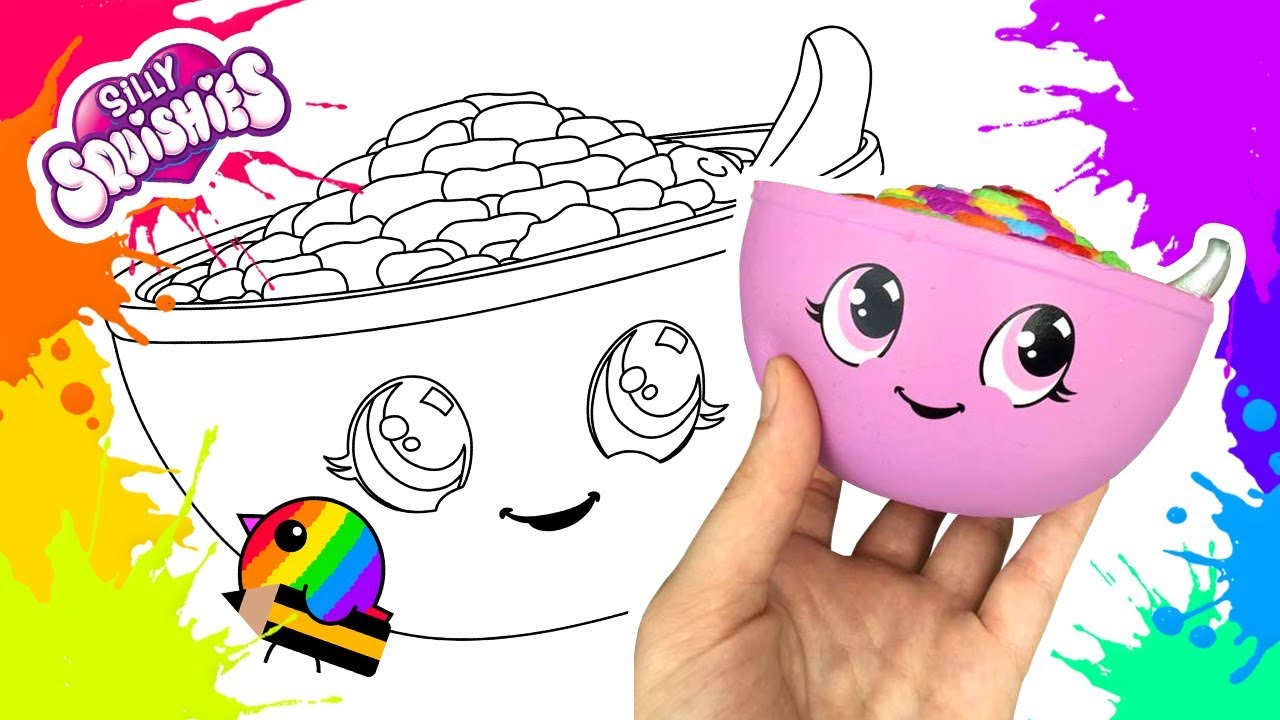 Drawing and Coloring SQUISHY CEREAL BOWL - YouTube