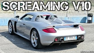 porsche carrera gt screaming v10 sounds accelerations revs onboard exhaust more