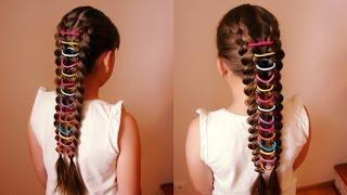 Коса с цветными резиночками. Очень просто. Видео-урок Детские причёски